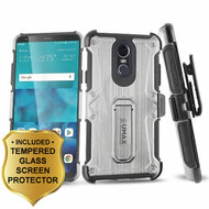 Heavy Duty Dual Layer Hybrid Armor Case with Holster and Tempered Glass Screen Protector for LG Stylo 4 - Silver