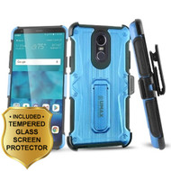 Heavy Duty Dual Layer Hybrid Armor Case with Holster and Tempered Glass Screen Protector for LG Stylo 4 - Blue