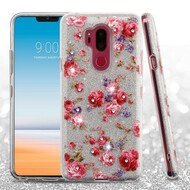 Full Glitter Diamond Hybrid Protective Case for LG G7 ThinQ - Vintage Rose Bush