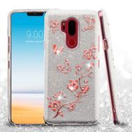 Full Glitter Diamond Hybrid Protective Case for LG G7 ThinQ - Butterflies Spring Flowers