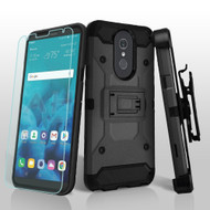 3-IN-1 Kinetic Hybrid Armor Case with Holster and Tempered Glass Screen Protector for LG Stylo 4 - Black