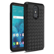 *Sale* Embossed Woven Leather-Style Protective Hybrid Case for LG Stylo 4 - Black