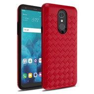 *Sale* Embossed Woven Leather-Style Protective Hybrid Case for LG Stylo 4 - Red