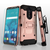 *SALE* 3-IN-1 Kinetic Hybrid Armor Case with Holster and Tempered Glass Screen Protector for LG Stylo 4 - Rose Gold
