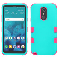 Military Grade Certified TUFF Hybrid Armor Case for LG Stylo 4 - Teal Green Electric Pink