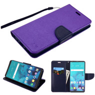 Diary Leather Wallet Case for LG Stylo 4 - Purple Navy Blue