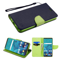 Diary Leather Wallet Case for LG Stylo 4 - Navy Blue Green