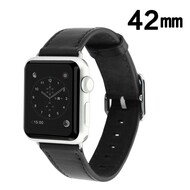Genuine Leather Watch Band for Apple Watch 42mm - Black