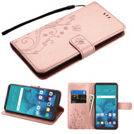 Embossed Butterfly Flower Leather-Style Wallet Stand Case for LG Stylo 4 - Rose Gold
