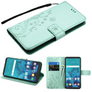 Embossed Butterfly Flower Leather-Style Wallet Stand Case for LG Stylo 4 - Teal Green