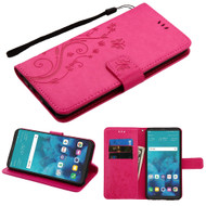 Embossed Butterfly Flower Leather-Style Wallet Stand Case for LG Stylo 4 - Hot Pink