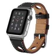 Genuine Leather Buckle Watch Band for Apple Watch 44mm / 42mm - Black