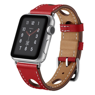Genuine Leather Buckle Watch Band for Apple Watch 44mm / 42mm - Red