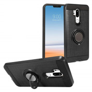 Sports Hybrid Armor Case with Smart Loop Ring Holder for LG G7 ThinQ - Black