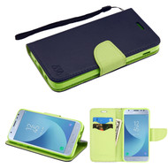 *Sale* Diary Leather Wallet Case for Samsung Galaxy J3 (2018) - Navy Blue Green