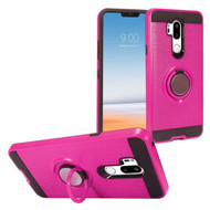 Sports Hybrid Armor Case with Smart Loop Ring Holder for LG G7 ThinQ - Hot Pink