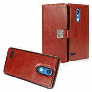Leather Wallet with Removable Magnetic Case for LG K30 - Brown