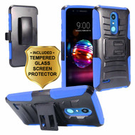 Advanced Armor Hybrid Kickstand Case with Holster and Tempered Glass Screen Protector for LG K30 - Blue