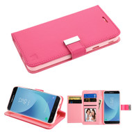 *Sale* Essential Leather Wallet Stand Case for Samsung Galaxy J7 (2018) - Hot Pink