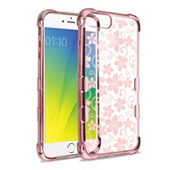 TUFF Klarity Electroplating Transparent Anti-Shock TPU Case for iPhone 8 Plus / 7 Plus / 6S Plus / 6 Plus - Hibiscus
