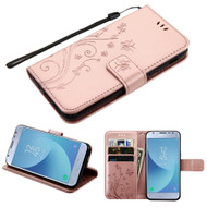 *Sale* Embossed Butterfly Flower Leather-Style Wallet Stand Case for Samsung Galaxy J3 (2018) - Rose Gold