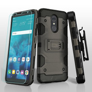 Military Grade Certified Storm Tank Hybrid Case + Holster + Tempered Glass Screen Protector for LG Stylo 4 - Grey