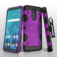 Military Grade Certified Storm Tank Hybrid Case + Holster + Tempered Glass Screen Protector for LG Stylo 4 - Purple