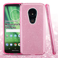 *Sale* Full Glitter Hybrid Protective Case for Motorola Moto G6 Play / G6 Forge - Pink