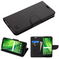 Diary Leather Wallet Case for Motorola Moto G6 Play / G6 Forge - Black