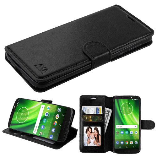 Book Style Leather Folio Case For Motorola Moto G6 Play