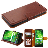 Book-Style Leather Folio Case for Motorola Moto G6 Play / G6 Forge - Brown