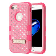 Military Grade Certified TUFF Diamond Hybrid Armor Case with Stand for iPhone 8 / 7 / 6S / 6 - Pink