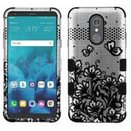 Military Grade Certified TUFF Image Hybrid Armor Case for LG Stylo 4 - Lace Flowers Black