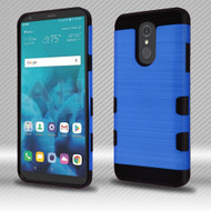 Military Grade Certified TUFF Trooper Dual Layer Hybrid Armor Case for LG Stylo 4 - Brushed Blue