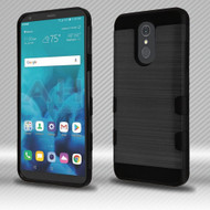 Military Grade Certified TUFF Trooper Dual Layer Hybrid Armor Case for LG Stylo 4 - Brushed Black