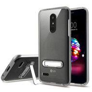 Bumper Shield Clear Transparent TPU Case with Magnetic Kickstand for LG K30 - Silver