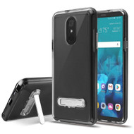 Bumper Shield Clear Transparent TPU Case with Magnetic Kickstand for LG Stylo 4 - Black