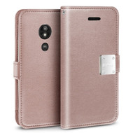*SALE* Essential Leather Wallet Case for Motorola Moto G6 Play / G6 Forge - Rose Gold