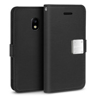 *Sale* Essential Leather Wallet Case for Samsung Galaxy J3 (2018) - Black