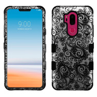 Military Grade Certified TUFF Image Hybrid Armor Case for LG G7 ThinQ - Four Leaves Clover Black