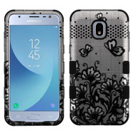 Military Grade Certified TUFF Image Hybrid Armor Case for Samsung Galaxy J3 (2018) - Lace Flowers Black