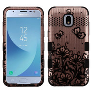Military Grade Certified TUFF Image Hybrid Armor Case for Samsung Galaxy J3 (2018) - Lace Flowers Rose Gold