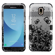 Military Grade Certified TUFF Image Hybrid Armor Case for Samsung Galaxy J7 (2018) - Lace Flowers Black
