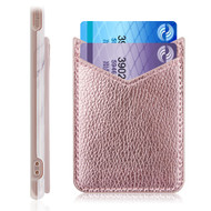 Adhesive Dual Slot Leather Card Pocket Pouch - Rose Gold