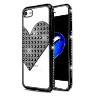 Heart Diamond Bling Electroplating Transparent Case for iPhone 8 / 7 - Black