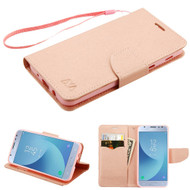Diary Leather Wallet Case for Samsung Galaxy J3 (2018) - Rose Gold