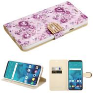 *Sale* Luxury Bling Portfolio Leather Wallet Case for LG Stylo 4 - Fresh Purple Flowers