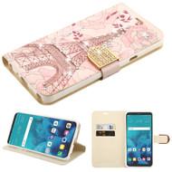 Luxury Bling Portfolio Leather Wallet Case for LG Stylo 4 - Eiffel Tower