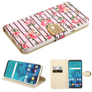 *Sale* Luxury Bling Portfolio Leather Wallet Case for LG Stylo 4 - Pink Fresh Roses