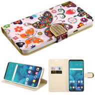 *Sale* Luxury Bling Portfolio Leather Wallet Case for LG Stylo 4 - Butterfly Wonderland